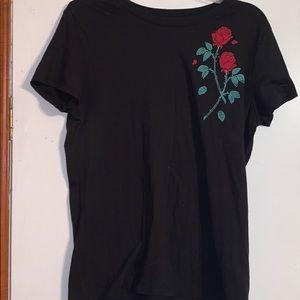 Black, rose T-shirt